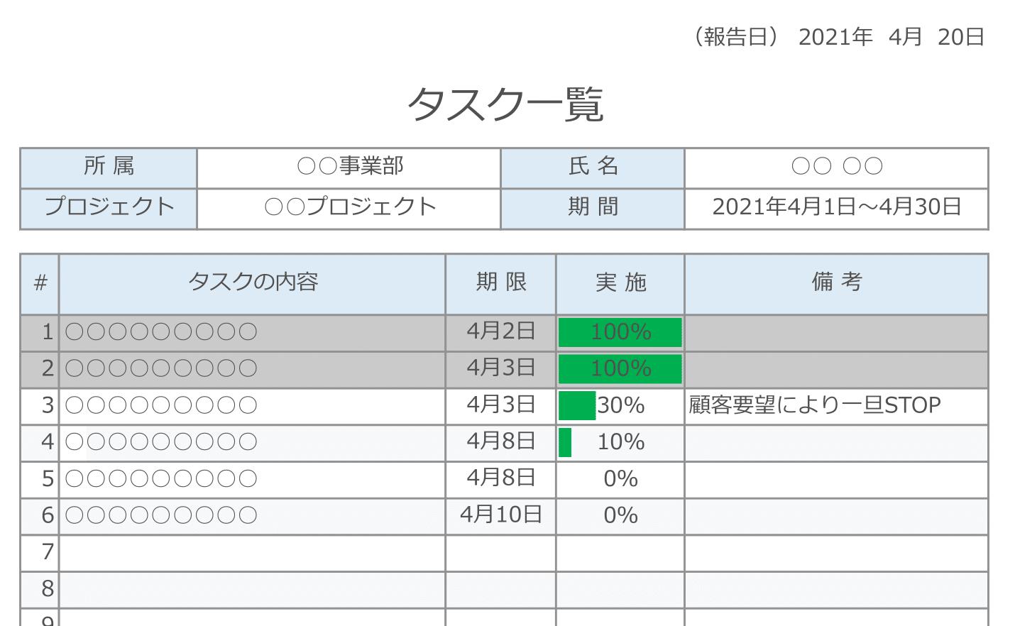 【タスク管理表】簡単・無料EXCELテンプレート(個人向け・進捗率・完了表示)
