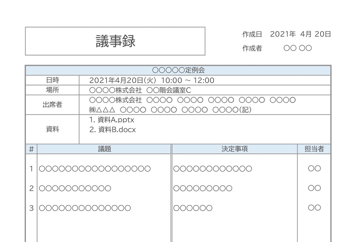 【無料Excel】議事録フォーマット(もう書いてある・Q&A方式・テンプレート)
